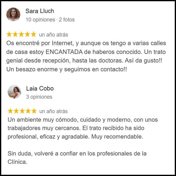 opiniones clientes clinica dental Sara y Laia